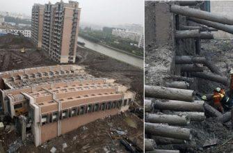 Made in China: многоэтажный дом упал, но не рассыпался