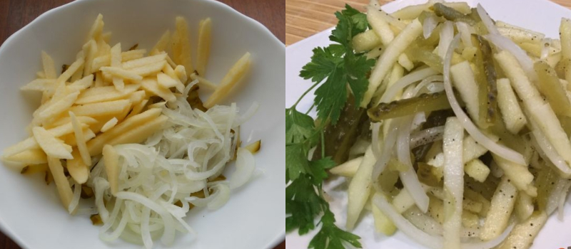 Салат, без которого не обойтись на пикнике: волнующее сочетание лука, яблок и огурцов