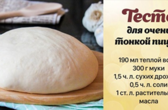Рецепт тонкого теста для пиццы на дрожжах и без яиц