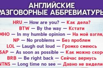 Список английских разговорных сокращений