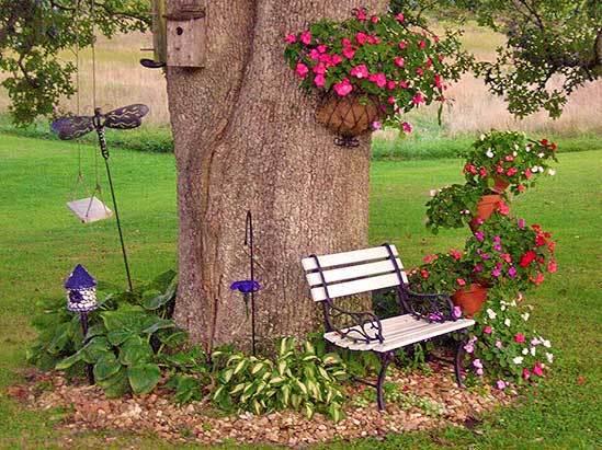 Дерево с клумбой — идея, способная стать акцентом