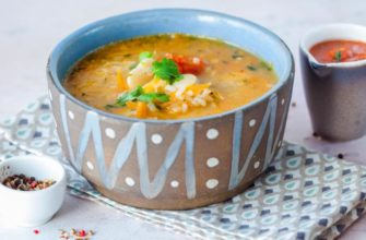 Грузинский суп из фасоли с овощами и рисом
