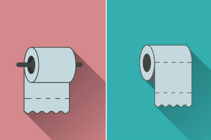 «Бумажный вопрос»: как правильно нужно вешать рулон в туалете