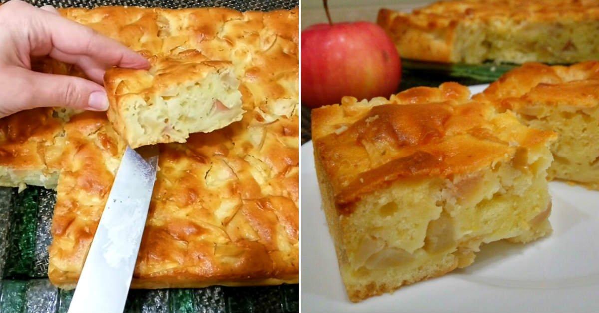 Самый простой рецепт яблочного пирога: быстрое тесто на сметане
