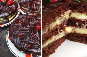 Воздушный торт без духовки с заварным кремом: рецепт на скорую руку