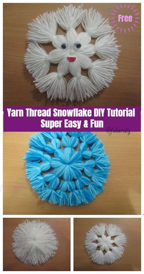 Снежинки из ниток без вязания и клея: элементарно и оригинально