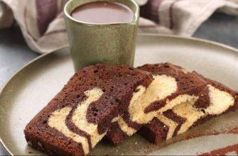 Мраморный кекс в шоколадной глазури