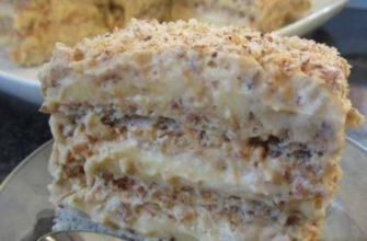 Воздушные коржи + заварной крем + много орехов = египетский торт