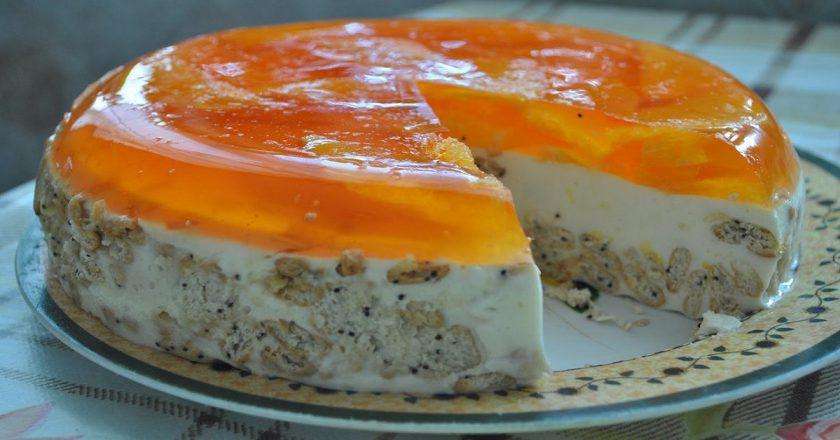Торт «Апельсинка» без выпечки. Желейно-сметанное угощение с божественной текстурой.