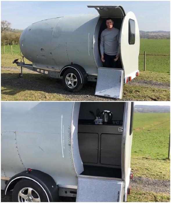 Британец приобрел списанную турбину авиалайнера и превратил ее в дом для путешествий