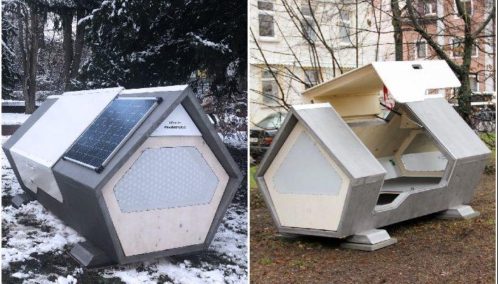 В Германии появились спальные капсулы для укрытия бездомных в холодные ночи