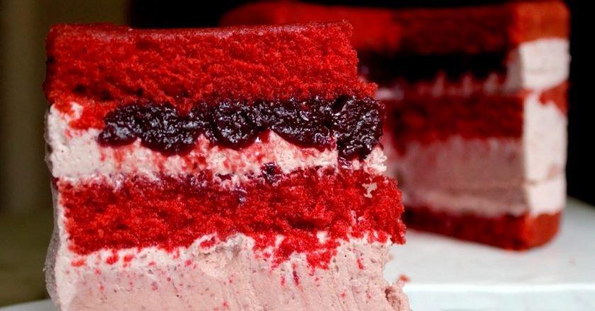Тонкости приготовления вишневого торта «Красный бархат». Нежный и невероятно красивый десерт.