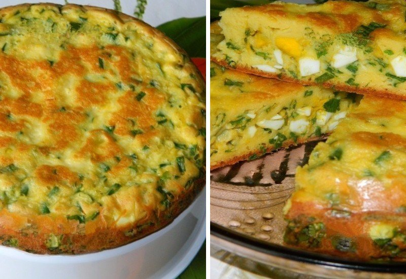 Ленивый заливной пирог с луком и яйцами: оперативно к полднику