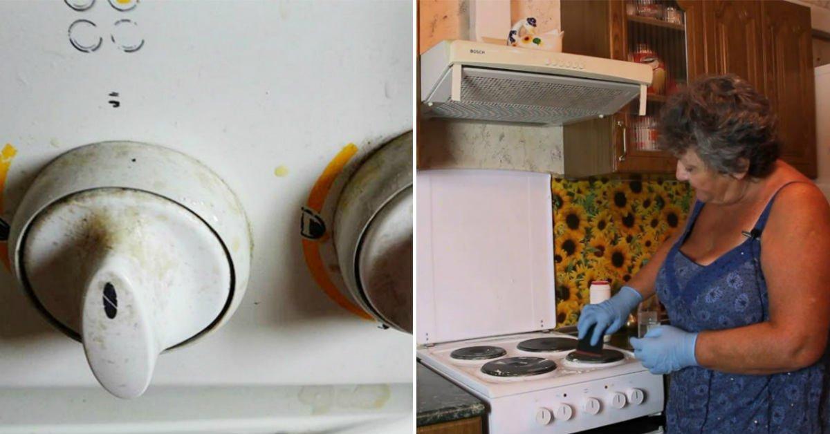 Как очистить ручки плиты от жира, если они не снимаются